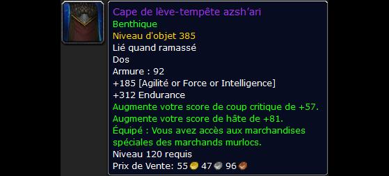 La Cape de lève-tempête azsh'ari, nécessaire pour voir la cache secrète de Mrrl et les objets épiques de ses acolytes - World of Warcraft