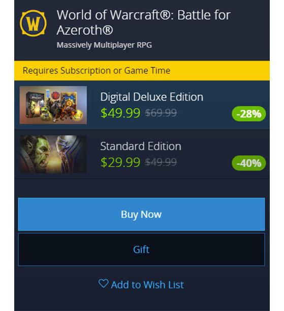 Prix en Amérique et Océanie - World of Warcraft