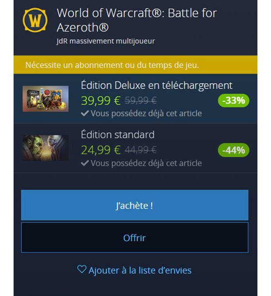 Prix en Europe - World of Warcraft