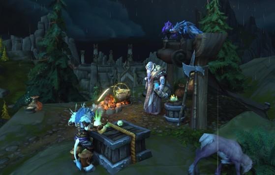 Odyn sous l'apparence du vrykul Havi avec ses corbeaux - World of Warcraft
