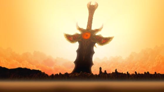 L'épée de Sargeras empalant Azeroth - World of Warcraft