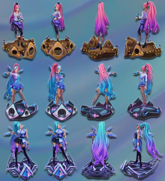 De haut en bas, les trois versions du skin : Indie, Etoile Montante et Superstar. - League of Legends