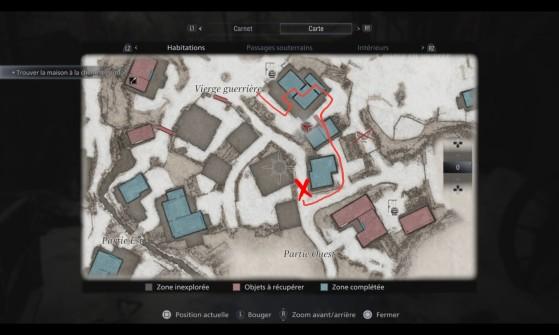 La croix montre la position du tracteur - Resident Evil Village