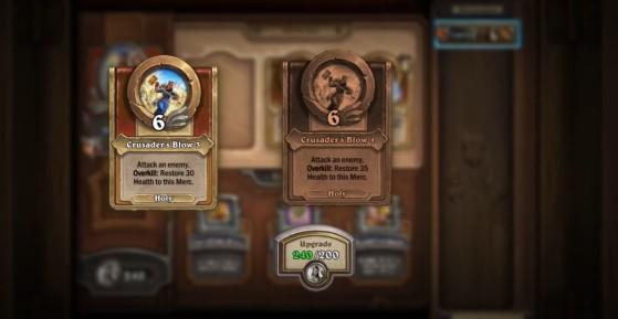 Les capacités des héros s'améliorent avec des pièces, récoltables dans les boosters de cartes. - Hearthstone