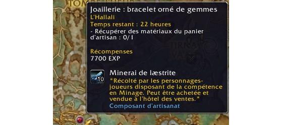 L'icône de la joaillerie permet de reconnaître facilement les expéditions du métier - World of Warcraft