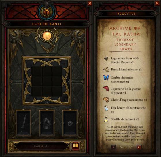 Le petit icône de livre en bas à gauche permet d'accéder aux sept recettes officiellement connues, qui content en plus l'histoire du cube et des Horadrims. - Diablo 3