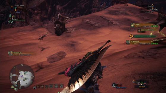 Les Marouettes sur le dos de l'Apceros à gauche - Monster Hunter World