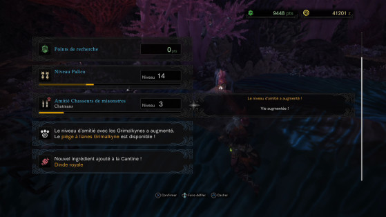 Ecran de progression des relations - Monster Hunter World