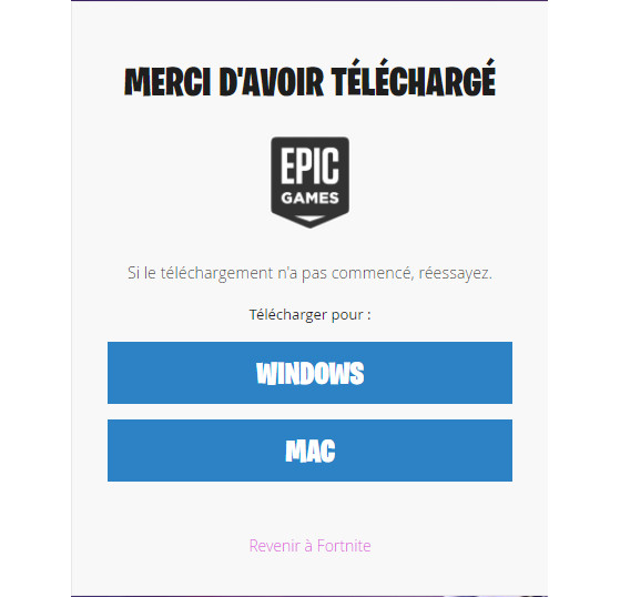 La page de téléchargement du launcher. - Fortnite : Battle royale