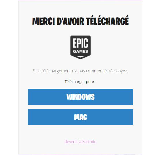 La page de téléchargement du launcher. - Fortnite : Battle royale