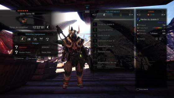 Vous pouvez inspecter les talents et consommables aussi avant de choisir - Monster Hunter World