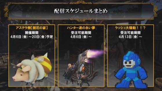 Le costume de Poogie à gauche, et d'autres événements d'avril au centre et à droite - Monster Hunter World