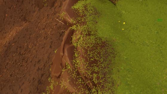 La zone qui n'était pas recouverte d'herbe durant la semaine 1 est facilement identifiable. - Fortnite : Battle royale