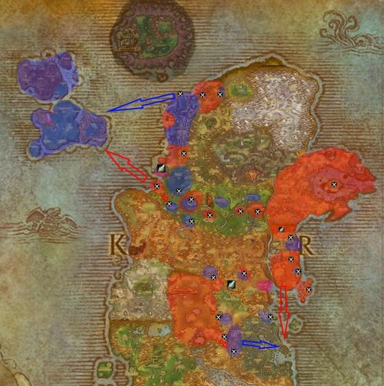 Carte des conflits de Kalimdor - World of Warcraft