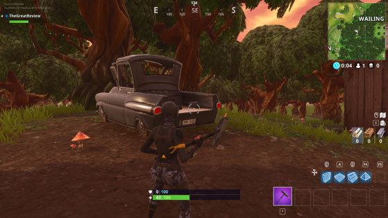 Dans le coffre du pick-up noir au nord-ouest de Wailing - Fortnite : Battle royale
