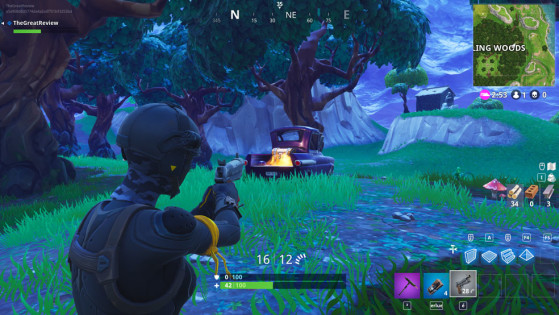 Dans le coffre du pick-up violet au nord-est de Wailing - Fortnite : Battle royale