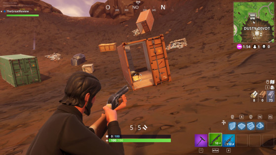 Dans un container rouge au nord du cratère. - Fortnite : Battle royale