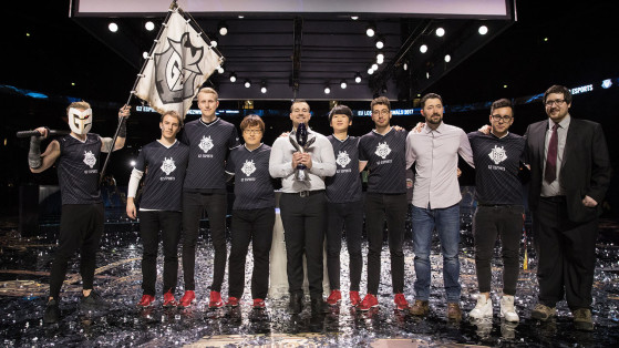 Weldon and G2 after their victory during EU LCS Spring 2017. - League of Legends