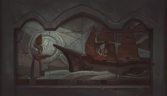 Bas-relief montrant un Eaugure en train de bénir un navire - World of Warcraft