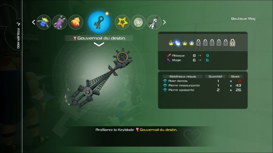 Guide Kingdom Hearts 3 : Keyblade Forge, améliorations