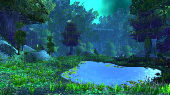 C'est aussi une zone assez pluvieuse. J'ai lu que la densité des arbres fait que la pluie atteint rarement le sol... Mouais, je suis pas convaincue, il me semble qu'il y flotte quand même énormément. - World of Warcraft