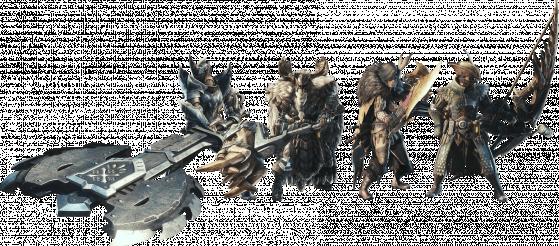 L'armure Banbaro semble être la seconde en partant de la gauche. - Monster Hunter World