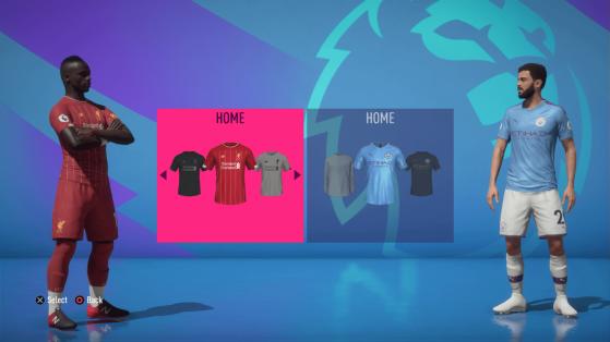 Exemple de l'interface de la Premier League - FIFA