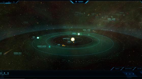 Terra et ses astres dans la Starmap - Star Citizen