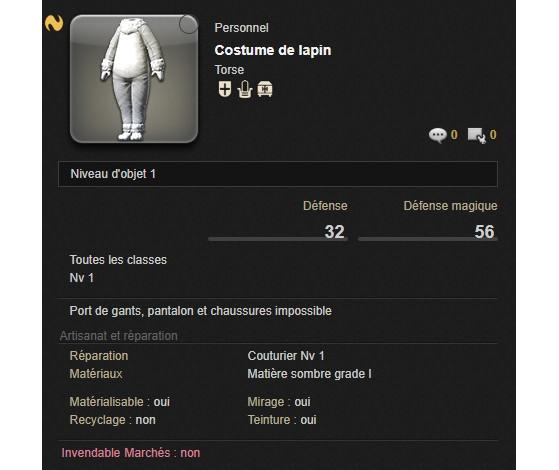 Costume de Lapin de La Chasse aux Prœufs - Final Fantasy XIV