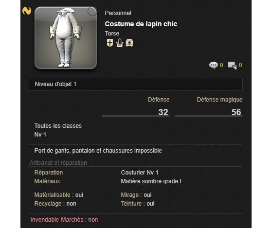 Costume de Lapin chic de La Chasse aux Prœufs - Final Fantasy XIV