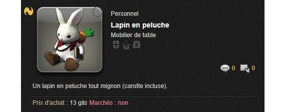 Lapin en peluche de La Chasse aux Prœufs - Final Fantasy XIV