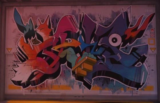 Un des graffitis, présent dans Kanezaka, illustre un renard - Overwatch