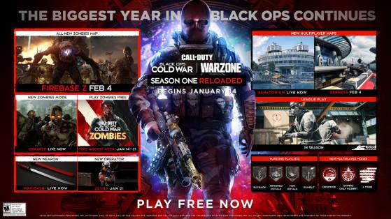 Roadmap de la saison 1 Reloaded de Black Ops Cold War et Warzone