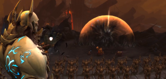 Le Geôlier et Anduin dans la vidéo de fin du scénario d'introduction à l'Ombreterre - World of Warcraft