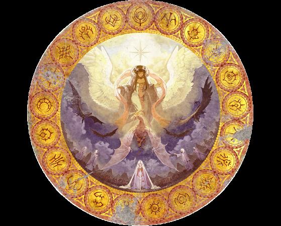 Une décoration murale de l'église de Seiros, avec les emblèmes autour. - Fire Emblem Three Houses