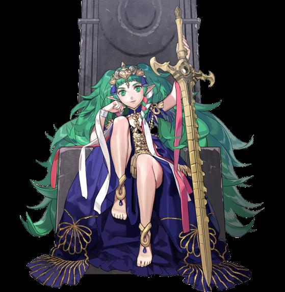 Sothis sur son trône avec l'épée de la création - Fire Emblem Three Houses