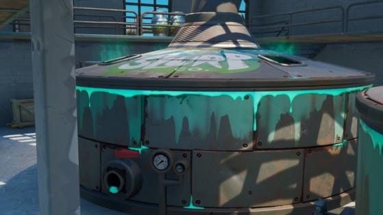 Fortnite : plonger dans une cuve à bleuvage en portant la tenue barbote, défi saison 11
