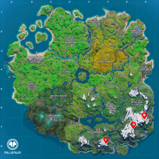 Les trois campements sont au sud-est de la map - Fortnite : Battle royale