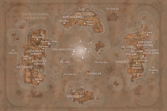 Carte du monde connu (source : Chroniques, vol. III, pp. 216-217) - World of Warcraft