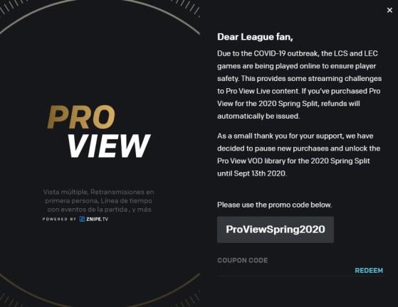 Code pour avoir le Pro View gratuit. - League of Legends