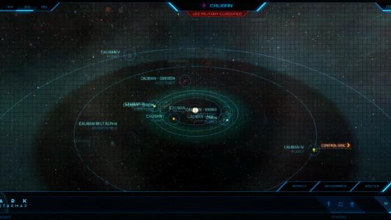 Caliban et ses astres dans la Starmap - Star Citizen