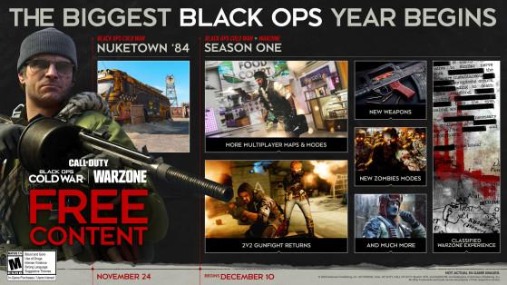 La roadmap de la saison 1 sur Cold War et Warzone - Call of Duty Black Ops : Cold War