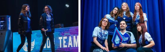 A gauche, Shiny et Freyja sur la scène du qualifier de Madrid. // A droite, Out of the Blue pose avec le trophée du GAMERGRIL Festival Madrid. // Crédit photo : Out of the Blue - League of Legends