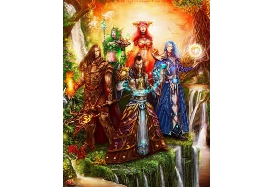 Ysera (2ème en partant de la gauche) représentée, sous sa forme humanoïde, au sein des Cinq Aspects, avec, de gauche à droite, Neltharion, Nozdormu, Alexstrasza et Malygos. FanArt de Keissinger. - Hearthstone