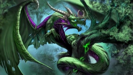 Ysera, sous sa forme draconique, au sein du Rêve d'émeraude. FanArt de enchantress lele. - Hearthstone