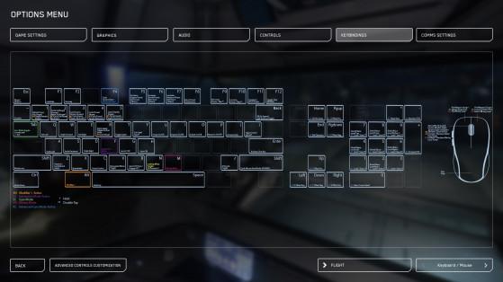 L'écran des contrôles de Star Citizen (pour vaisseaux ici) - Star Citizen