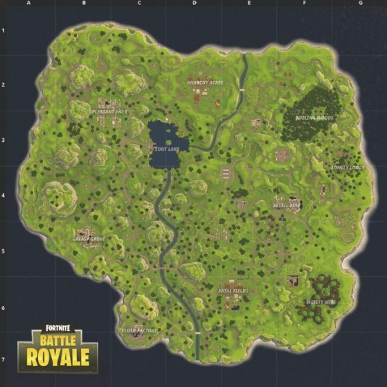 Les lieux portant des noms contiennent généralement le plus de loot. - Fortnite : Battle royale