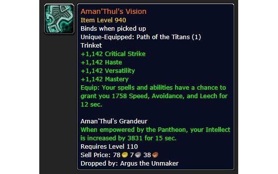La Vision d'Aman'Thul serait donc l'un des derniers légendaires de l'extension. - World of Warcraft
