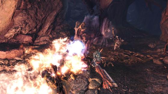 Monster Hunter World : AnjanathUn bon moyen de juger si l'Anjanath est d'humeur à cracher du feu : il déploie son appendice nasal ainsi que ses membranes arrières. - Monster Hunter World