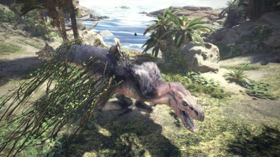 Sautez sur son dos depuis un rebord, utilisez les lianes, les pièges de l'environnement et les autres monstres. Pour le joueur débutant l'Anjanath va demander de mettre en pratique les bases qu'il a appris sur les combats précédents. - Monster Hunter World